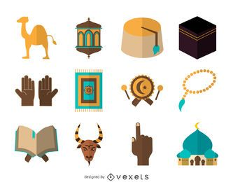 Flache Islam-Icon-Set