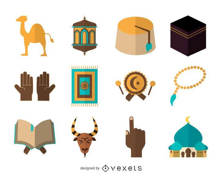 Flache Islam-Icon-Set