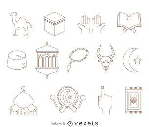 elementos árabes dibujo conjunto