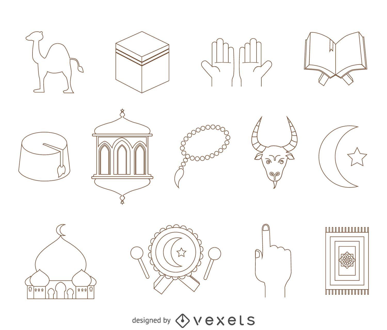 Conjunto de dibujo de elementos árabes