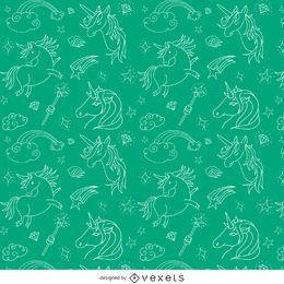 Ilustrado padrão de unicorn