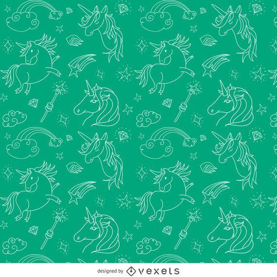 Patrón de unicornio ilustrado