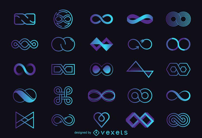Infinity conjunto plantilla de logotipo