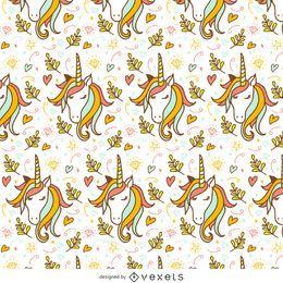Patrón de doodle de unicornio