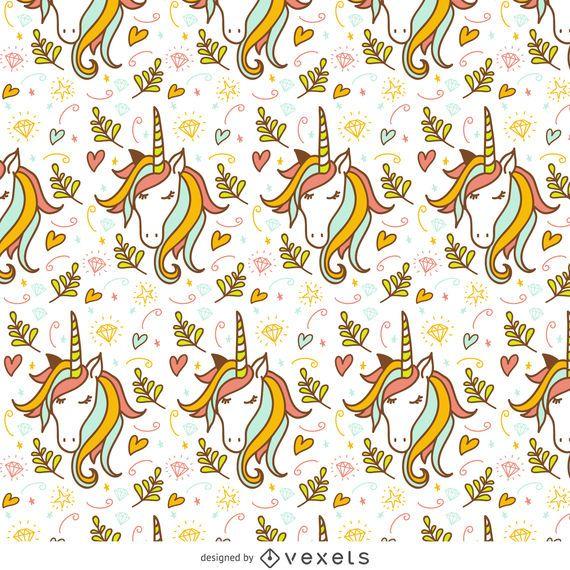 Unicorn doodle pattern