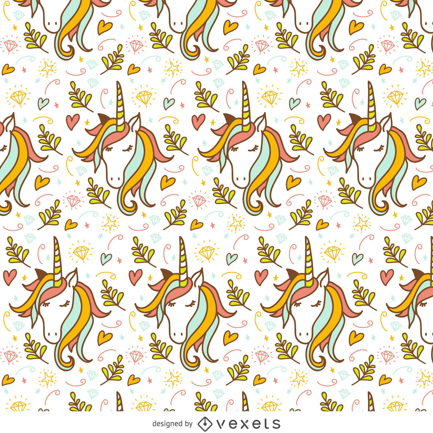 Unicorn Doodle Pattern Vector Download