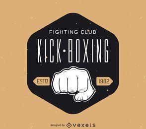 Modelo de logotipo de adesivo hipster de kick-boxing