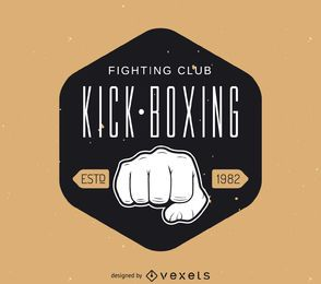 Plantilla de logotipo de etiqueta de kick-boxing de hipster