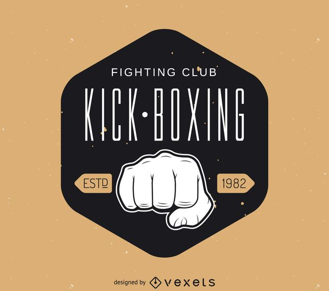 Hipster kick-boxing sticker logo template