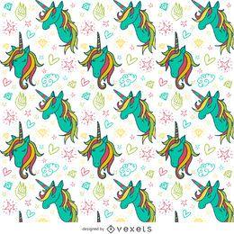 Patrón de dibujos de unicornio colorido