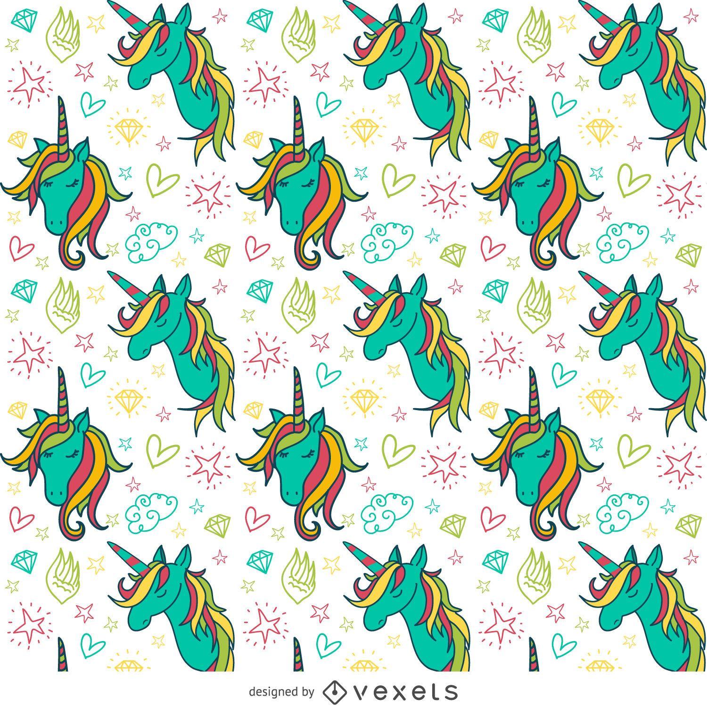 Patr?n de dibujos de unicornio colorido