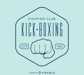 Plantilla de logo de sello de kick-boxing lineal