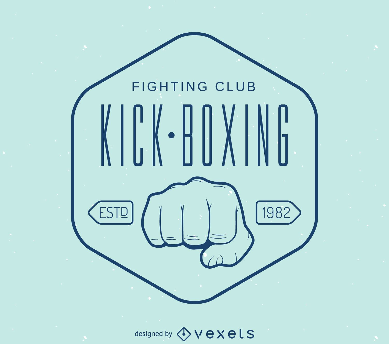 Lineal kick-boxing stamp logo template