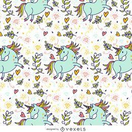 Patrón de unicornio dibujado a mano