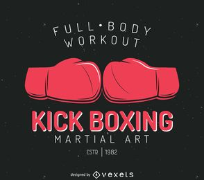 Kick-boxing badge logo template