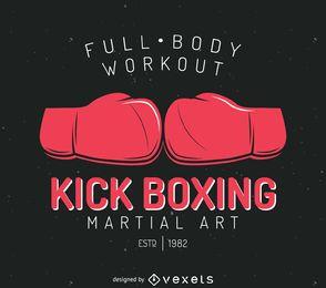 Modelo de logotipo de emblema de kick-boxing