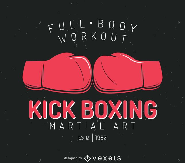 Kick-boxing badge logo template