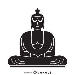 Ilustración de Buda en blanco y negro