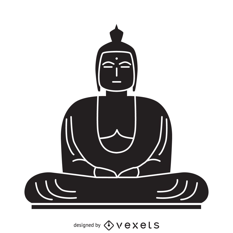 Black and white Buddha illustration