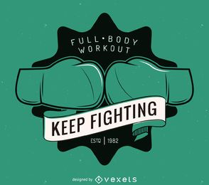 Plantilla de etiqueta de logo de kickboxing