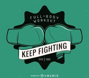 plantilla de la etiqueta logotipo de kick-boxing