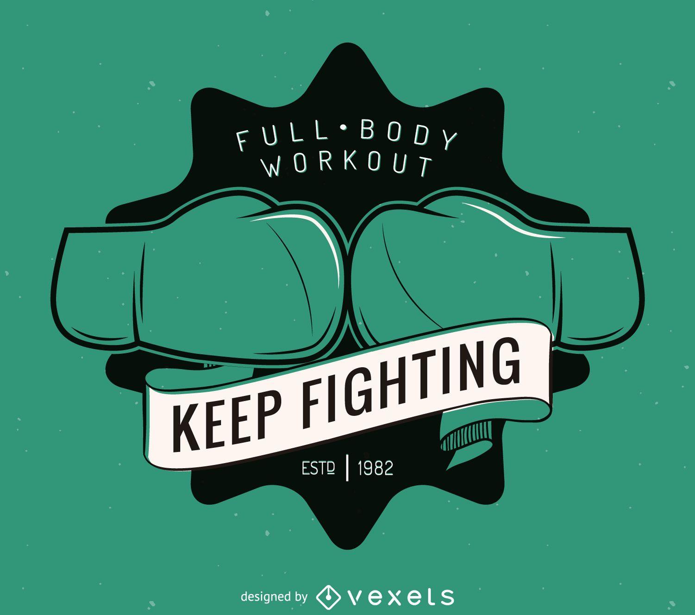 Plantilla de etiqueta de logo de kick-boxing
