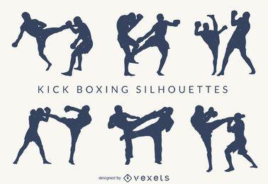 Conjunto de silhuetas de kick-boxing