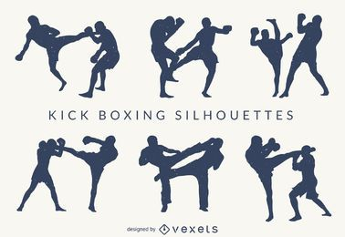 Kick-boxing silhouettes set