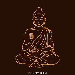 Buda de la ilustración lineal