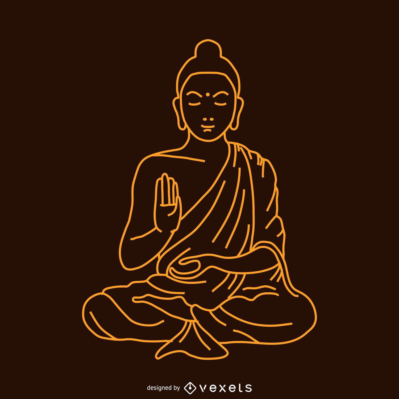 Ilustración lineal de Buda