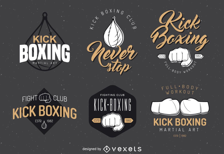 Conjunto de plantillas de logotipo de kick-boxing