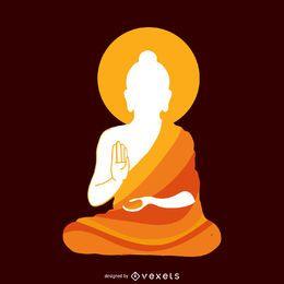 Ilustración de silueta budista