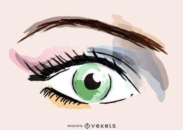 Ilustração de maquiagem dos olhos em aquarela