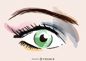 Watercolor eye makeup illustration