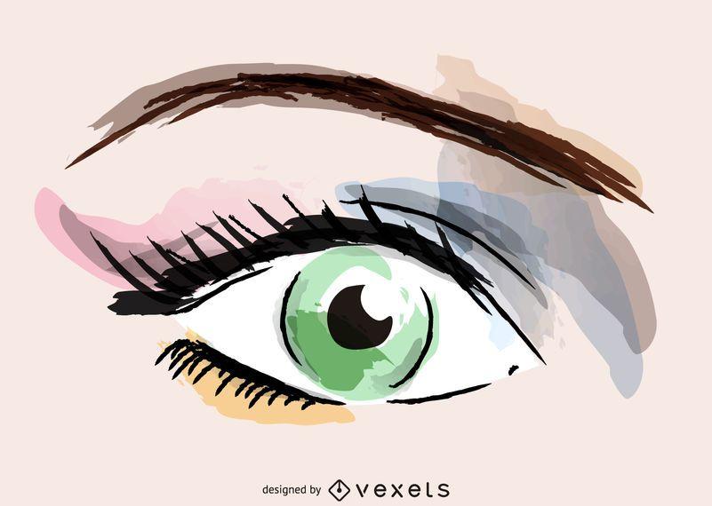 Watercolor eye makeup illustration