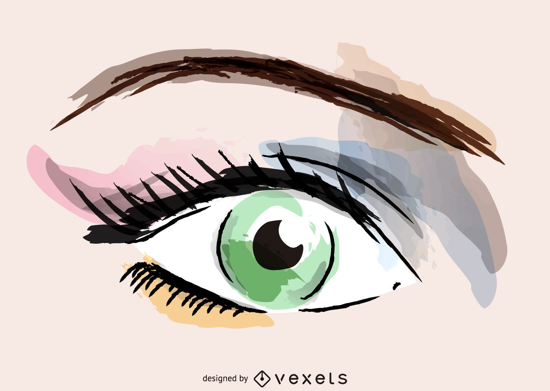 Ilustración de maquillaje de ojos acuarela