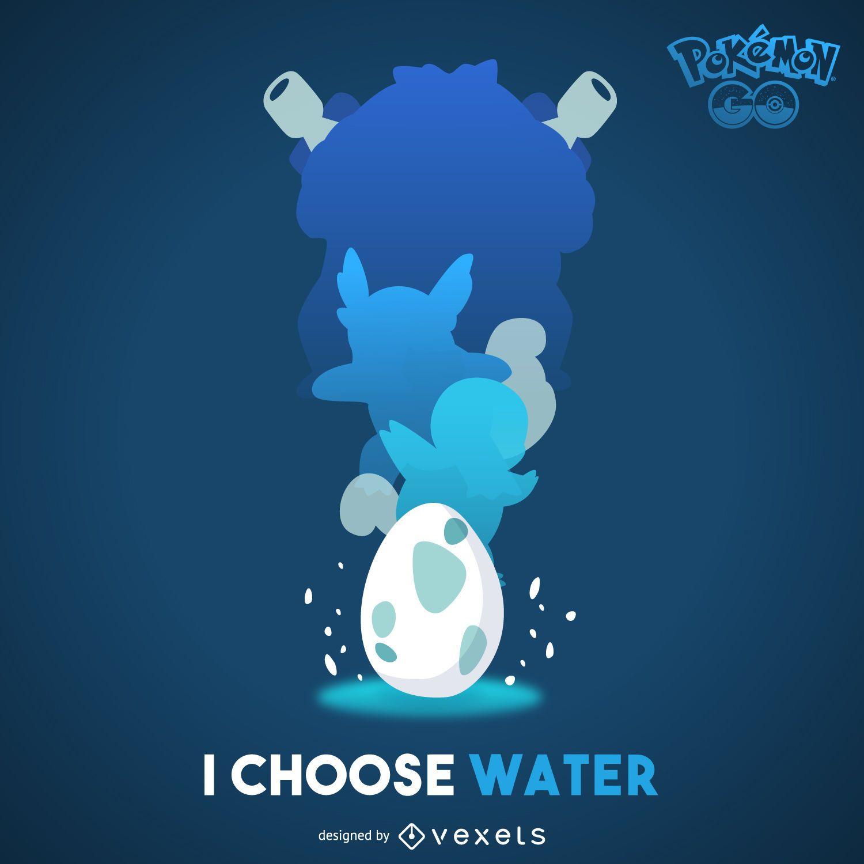 Póster de Pokémon de agua