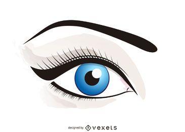 Ojo ilustrado con maquillaje.