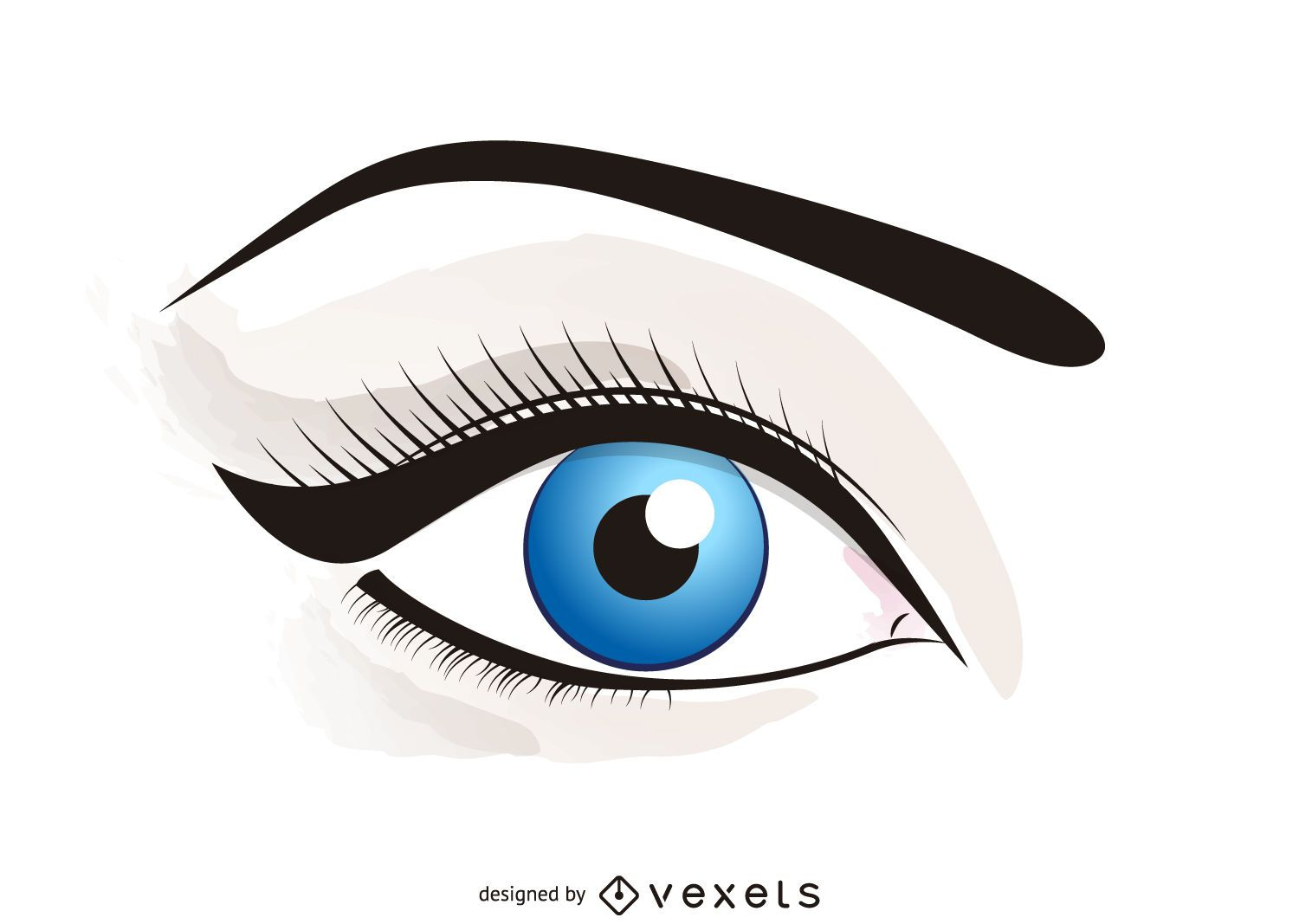 Illustrated eye with makeup
