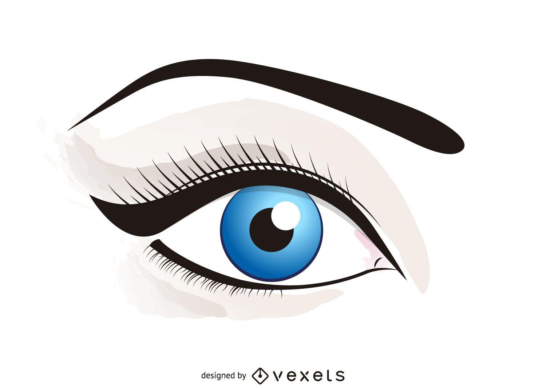 Olho Ilustrado Com Maquiagem Baixar Vector