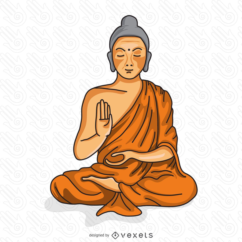 Monje budista meditando ilustración