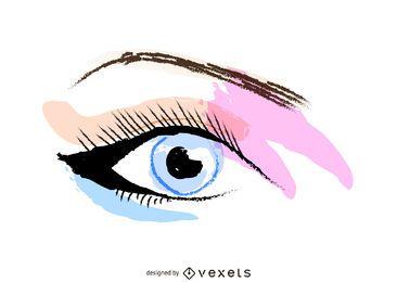 Wachsmalstift Mädchen Augen Make-up