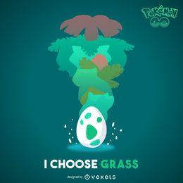 Ilustração de Pokémon de grama