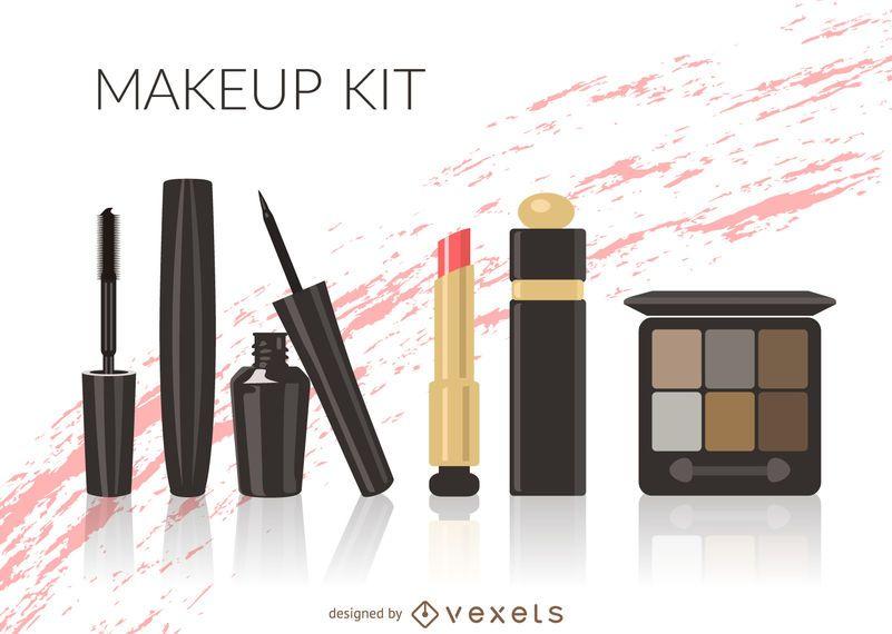 Illustrated makeup kit