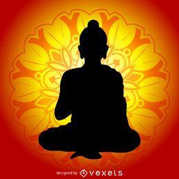 Ilustração Buddha com mandala