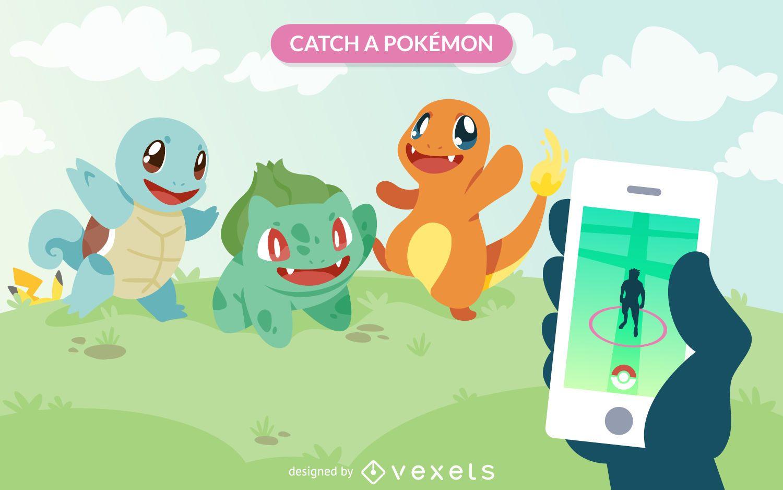 pokémon go illustration vector download