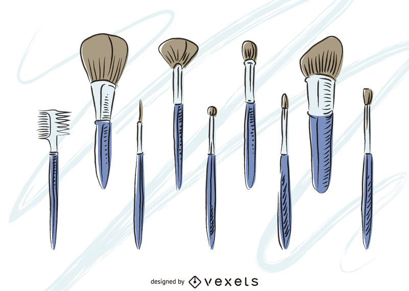 Hand drawn makeup brushes