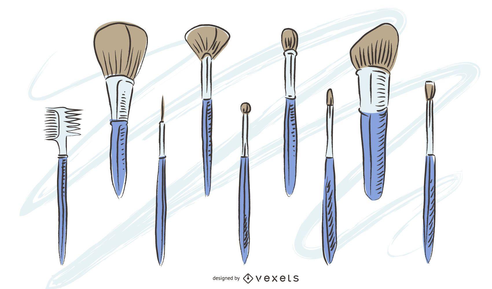 Paquete de pinceles de maquillaje dibujados a mano