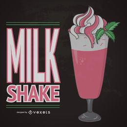 Illustrated strawberry milkshake