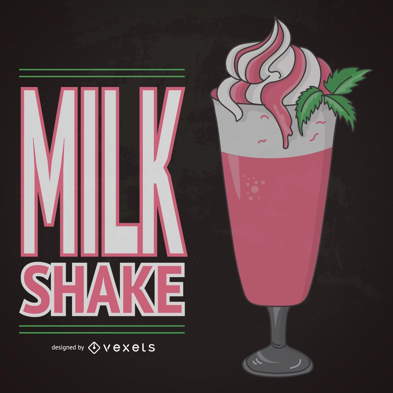 Illustrated strawberry milkshake